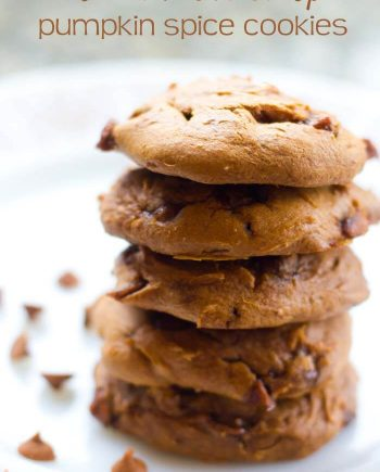 a stack of pumpkin cinnamon chip cookies