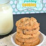 a stack of butterscotch pudding cookies with glass of milk