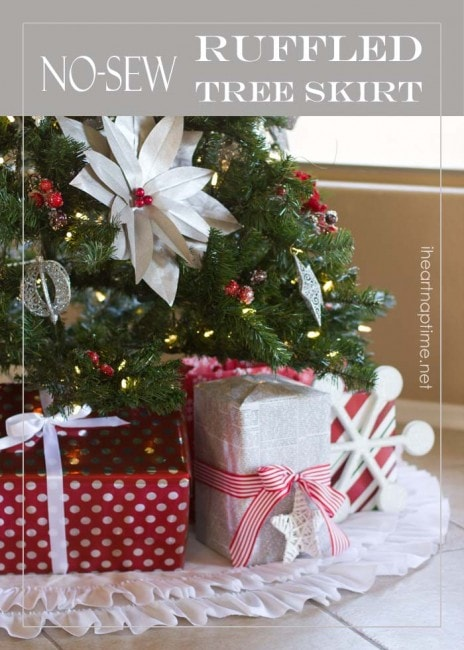 Beautiful NO-sew ruffled tree skirt from iheartnaptime.net