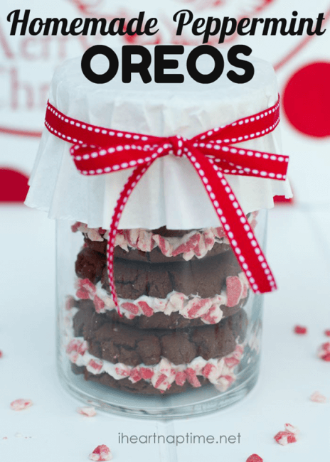 homemade peppermint oreos in a gift container