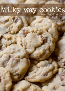 Super soft chocolate and caramel milky way #cookies on iheartnaptime.com ...These will literally melt in your mouth.  #recipes