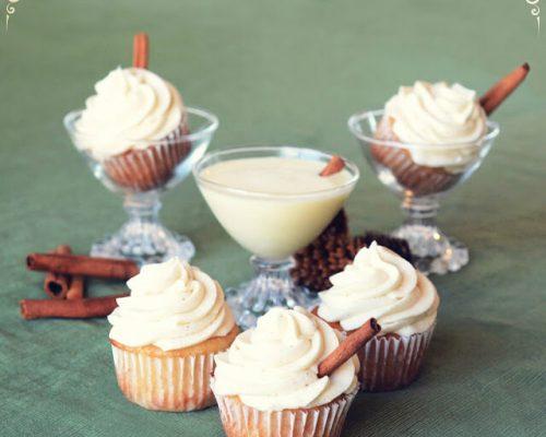 eggnog cupcakes on table