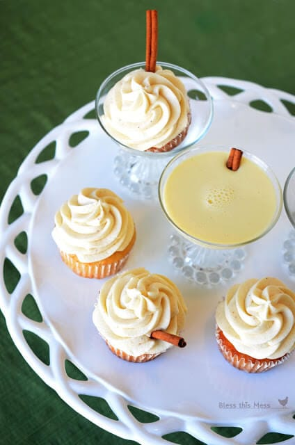 eggnog cupcakes on white plate