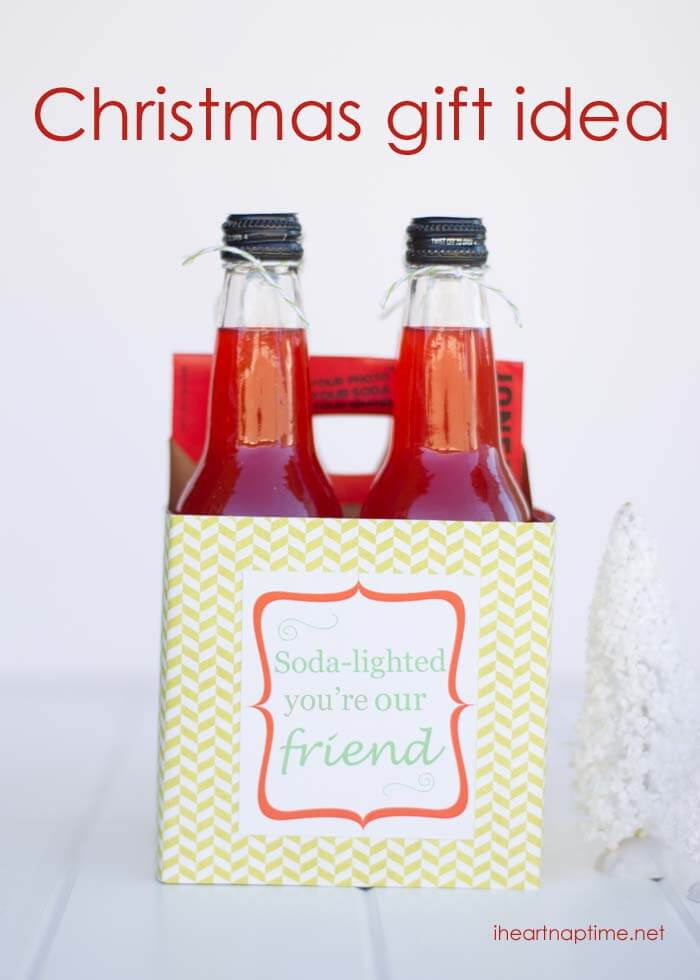 Soda-lighted neighbor gift idea w/ free printable - I Heart Nap Time