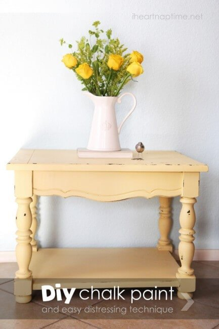 How to make chalk paint and distress furniture on iheartnaptime.com #DIY