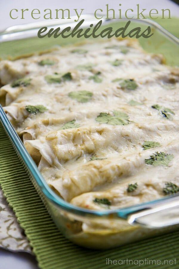 The BEST creamy chicken enchiladas on iheartnaptime.com #recipes