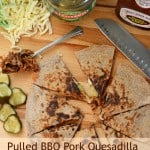 BBQ pork quesadillas with words