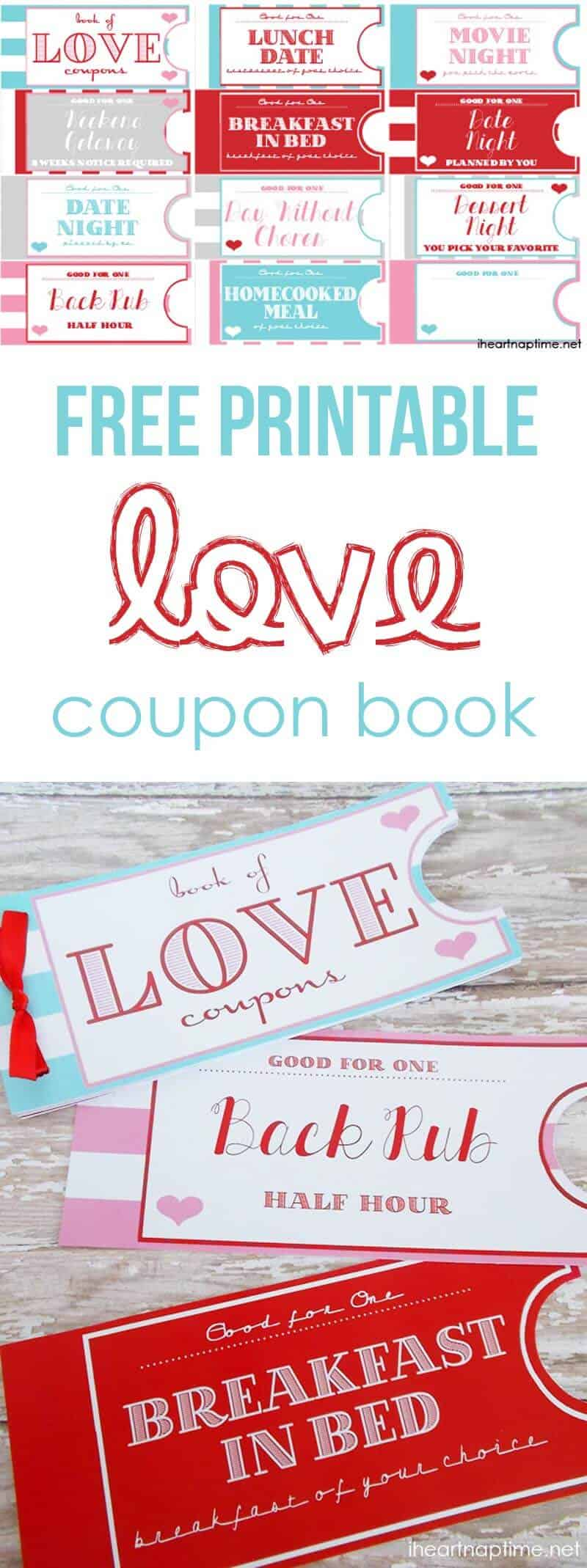 Printable love coupon book -the perfect Valentine\'s Day gift!