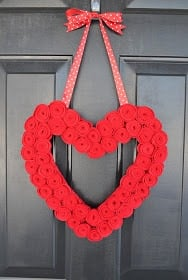 Heart Rosette Valentines Wreath