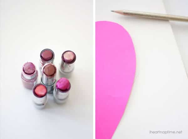 Easy Valentines Day Decor on iheartnaptime.com -DIY Lipstick Art