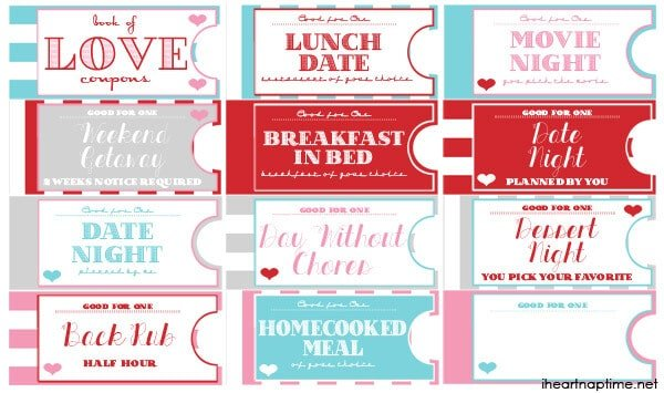 Printable Love Coupon Book I Heart Nap Time – Lunch Ticket Template
