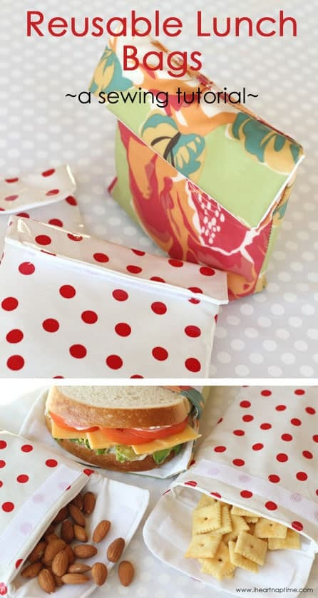 Reusable lunch bags sewing tutorial -these would be perfect for road trips and school lunches!