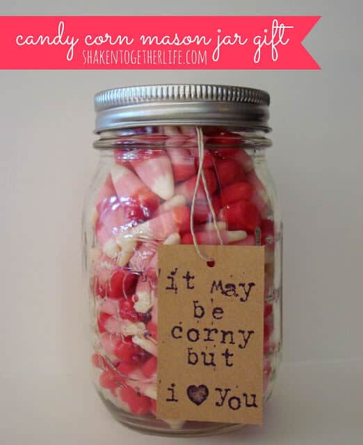 candy corn Valentine mason jar gift NEW