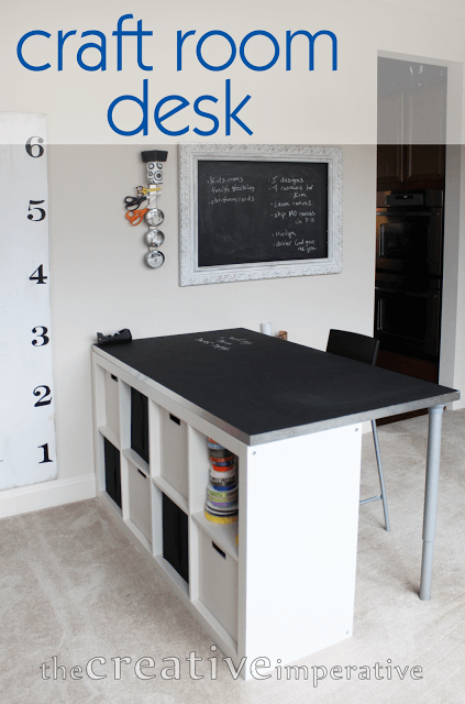 craft room desk from ikea with storage