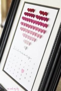 ombre heart calendar