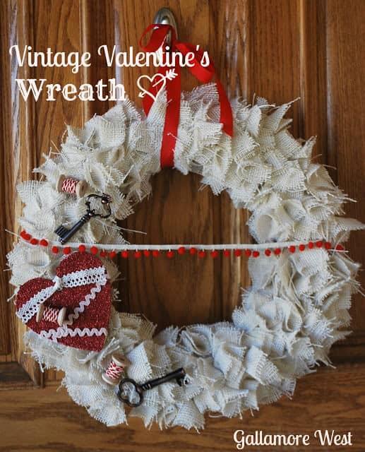 vintage valentine's wreath
