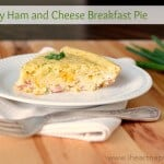 slice of ham and cheese breakfast pie on plate