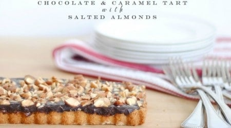 caramel chocolate almond tart 1a