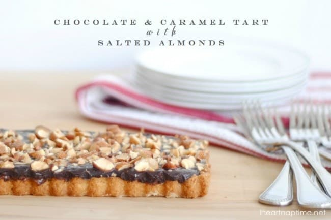 Dark Chocolate Caramel Tart » caramel chocolate almond tart 1a