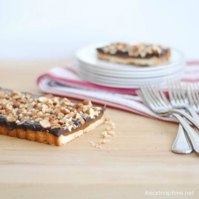 caramel chocolate almond tart 3