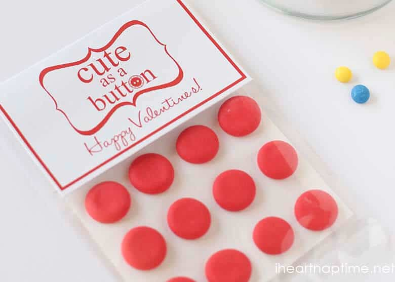 """Free Valentine printable on iheartnaptime.com ... """"Cute as a button."""""""
