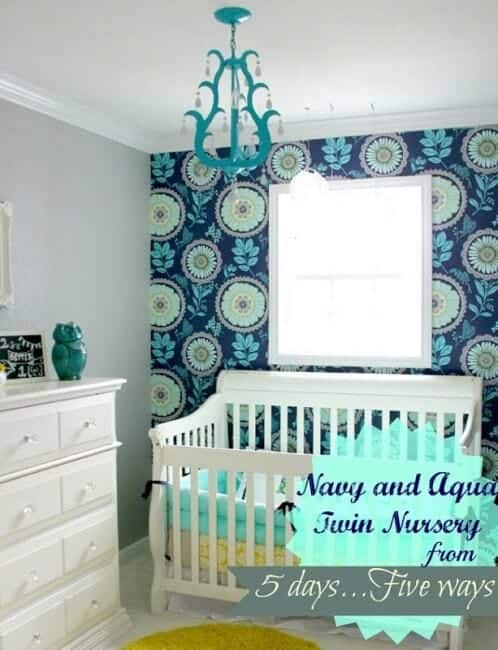 navy and aqua twin nursery