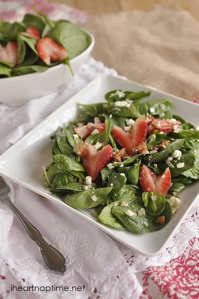 Warm Spinach Salad with Strawberries