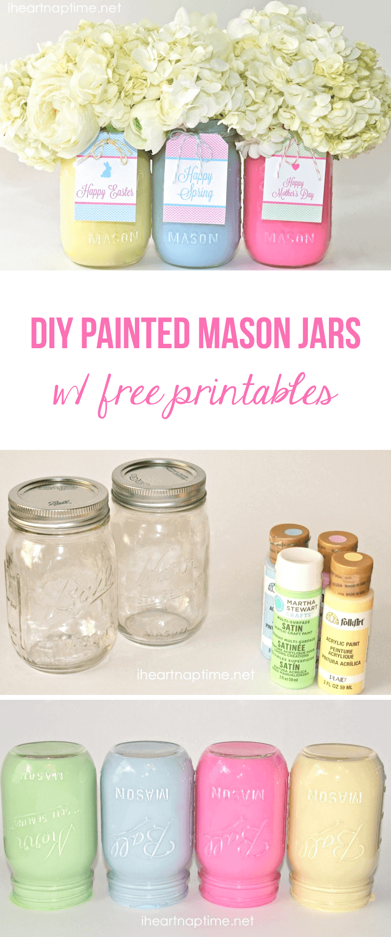 diy spring mason jars and free tags i heart nap time