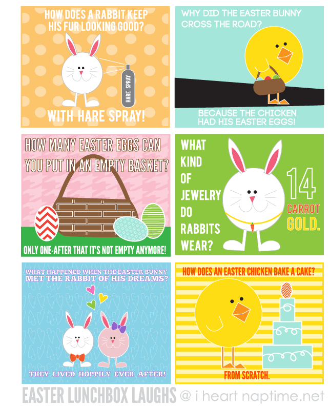 Get these FREE Easter Lunchbox Laughs at I heart naptime. #easter