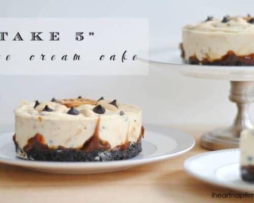 take 5 ice cream cake on a white plate