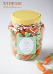 Such a cute gift idea for Easter ...keep calm and eat carrots! Free printable too!