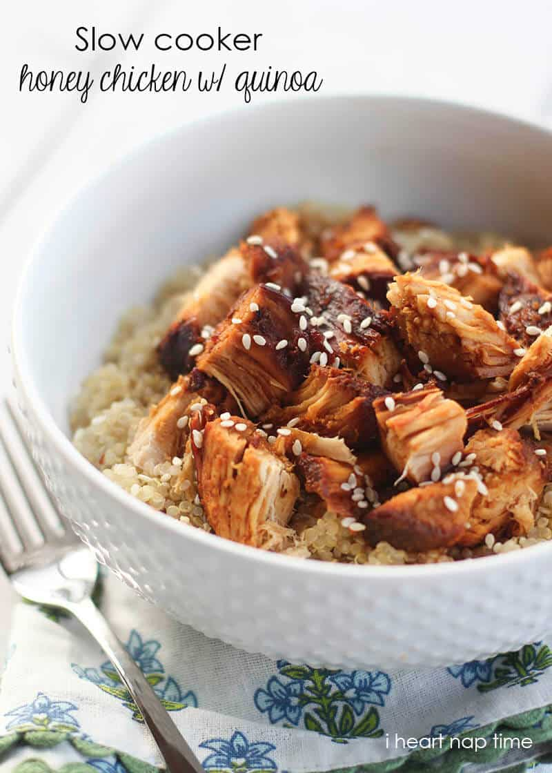 Slow cooker honey chicken with quinoa on iheartnaptime.net ... super easy to make and absolutely delicious! #recipes