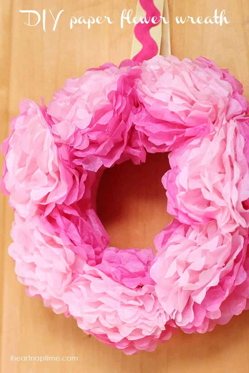 DIY tissue paper flower wreath