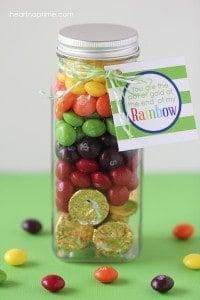 Skittles rainbow pot of gold gift idea on I Heart Nap Time