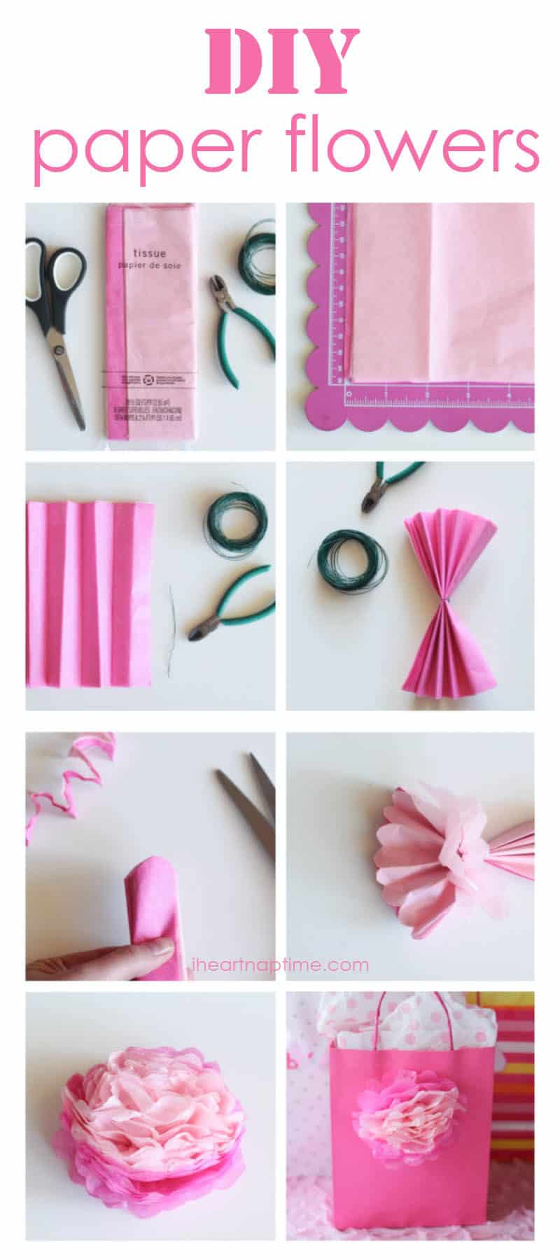 how to make simple tissue paper flowers Paper flower crafts are a beautiful and inexpensive way to welcome  why not  make your home blossom this spring with a few of these  5 tissue paper  flowers | the casual craftlete tissue paper flowers | 25+ paper flower crafts  save 6 simple gift bag with ombre paper flower pattern | nobiggienet.