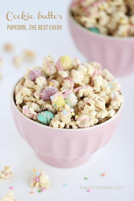 Cookie butter popcorn... this stuff is dangerously delicious!!