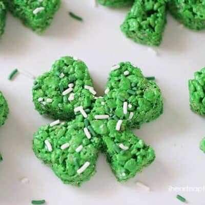 a green rice krispie treat in the shape of a clover