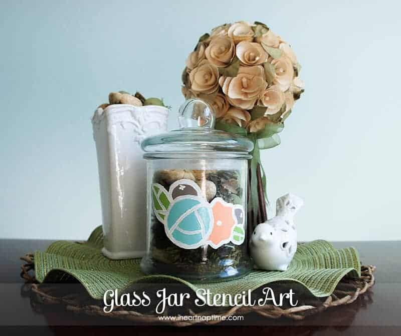 Glass Jar Stencil Art