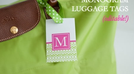 Customizable Printable Monogram Luggage Tags