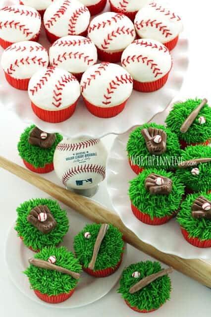 baseball theme cupcakes