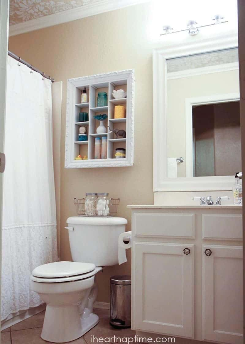 Bathroom Makeover On The Cheap + $1 Art
