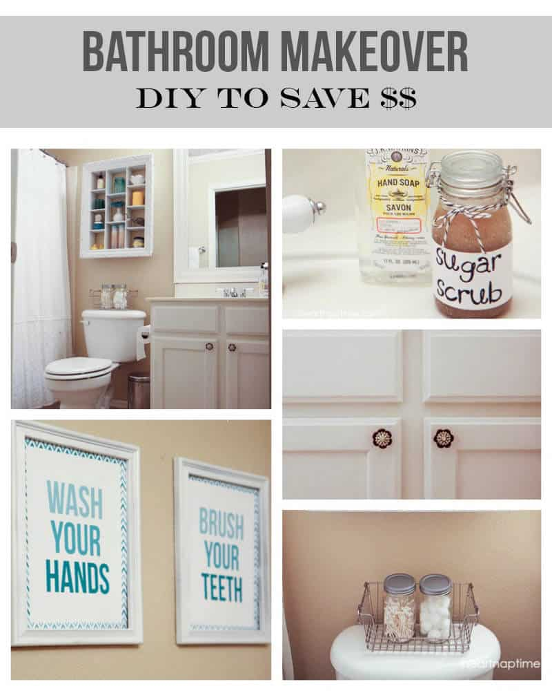 Bathroom makeover on the cheap + $1 art - I Heart Nap Time