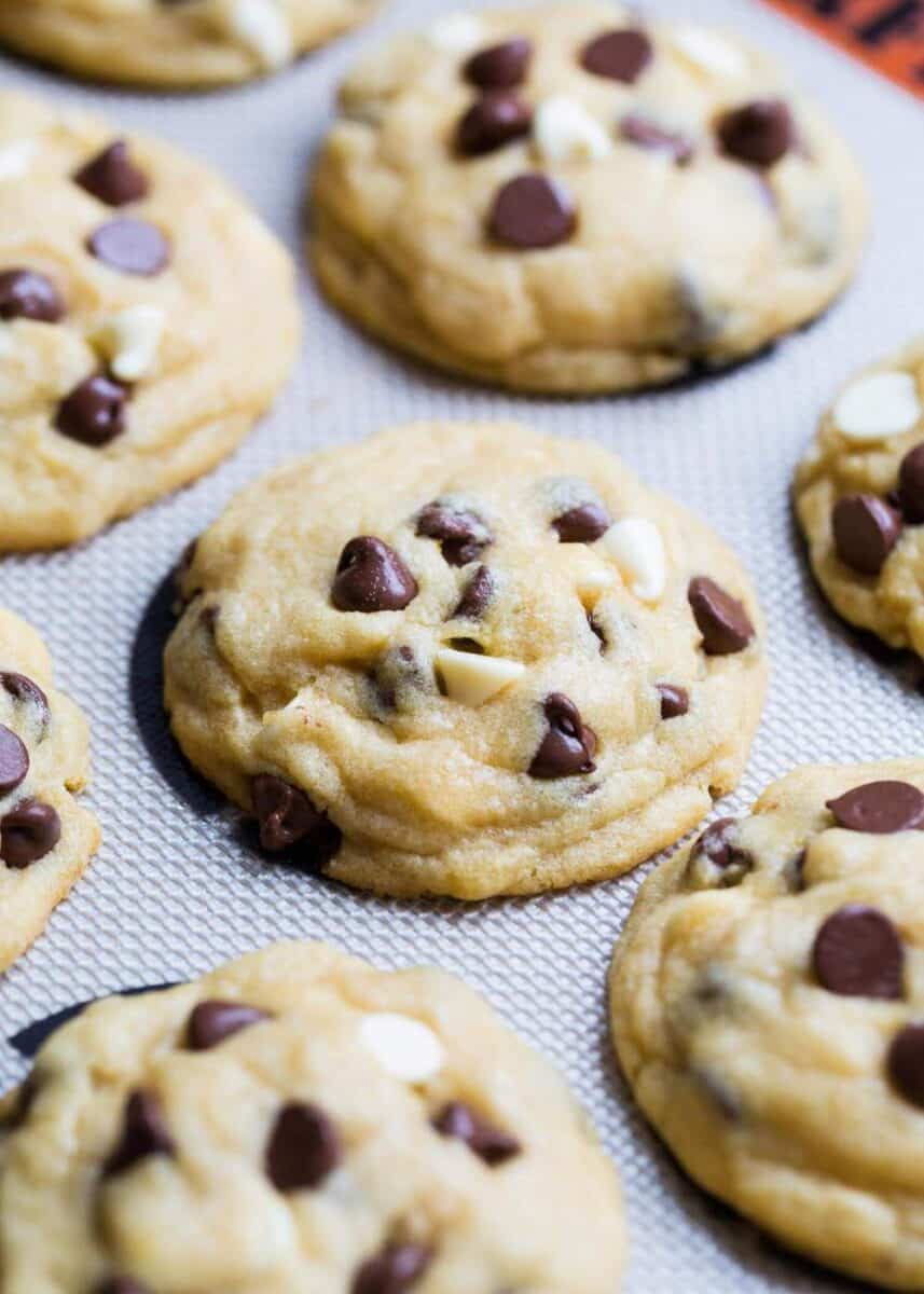 chocolate chip pudding cookies on a silpat mat