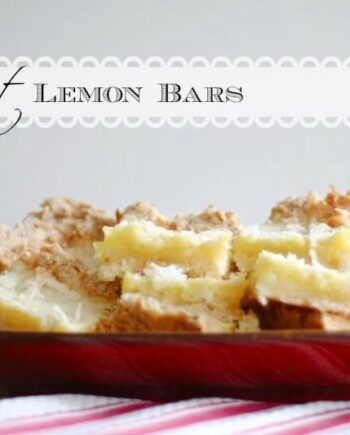 coconut lemon bars in a red bowl