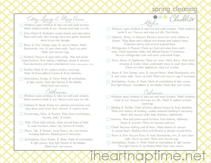 House Cleaning Checklist For Printable  SaveBtsaCo