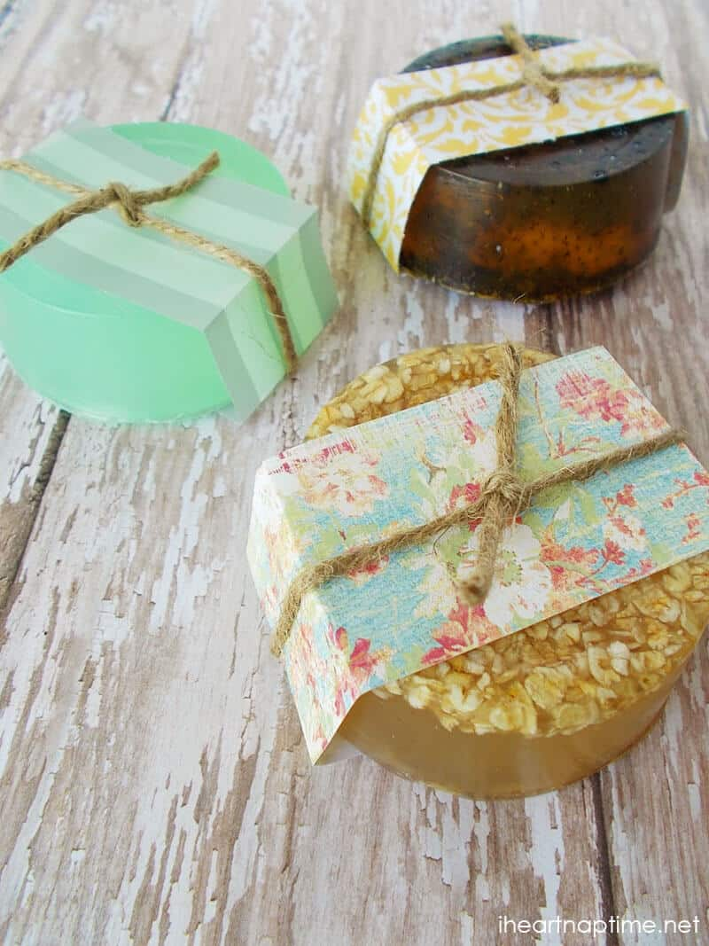 handmade soaps sitting on wood table