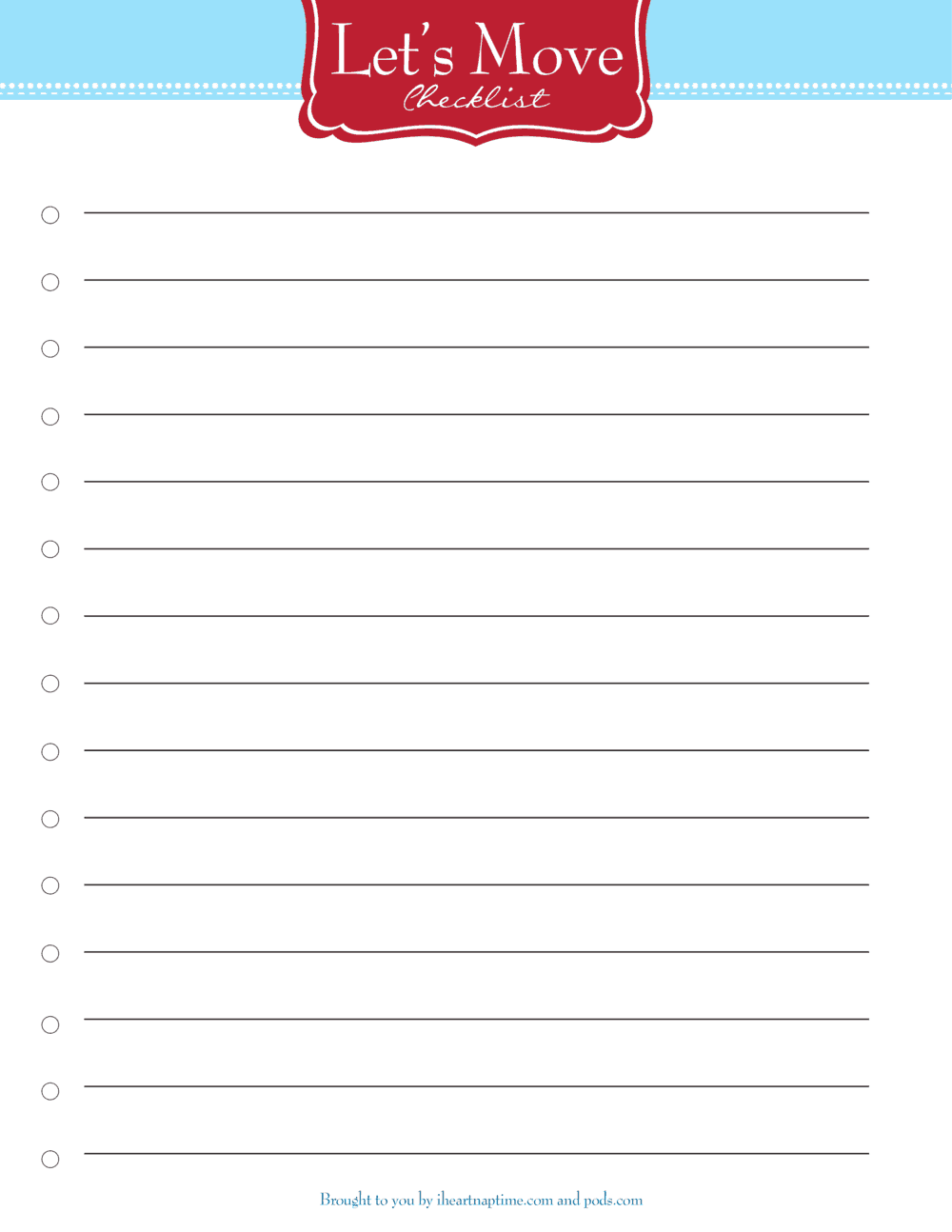 Free printable moving checklist - I Heart Nap Time