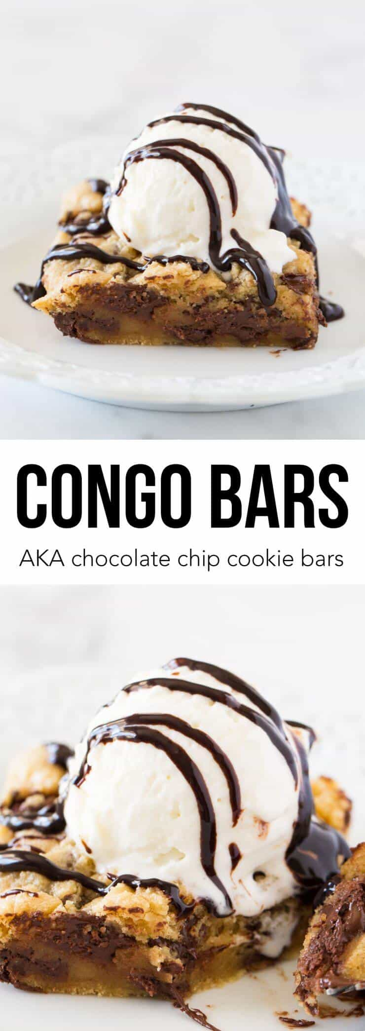 Congo bars AKA chocolate cookie bars recipe...so yummy with ice cream on top! My husband's favorite dessert!