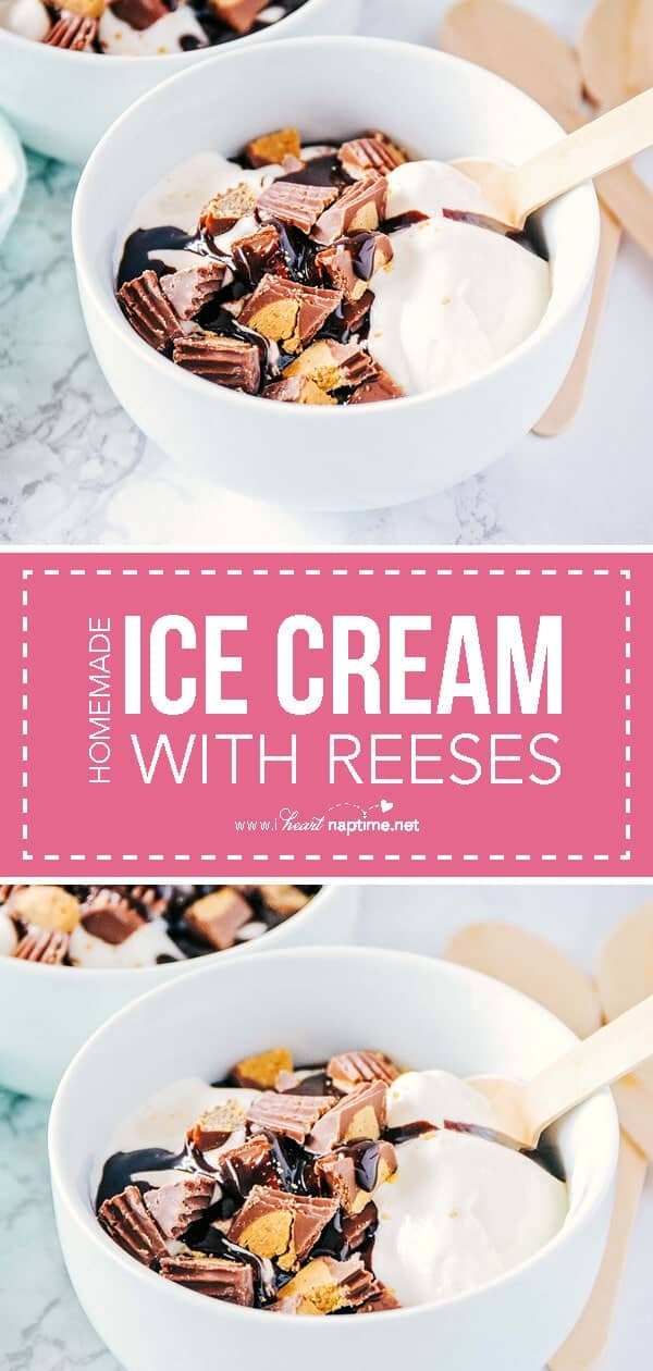 homemade vanilla ice cream with Reese's