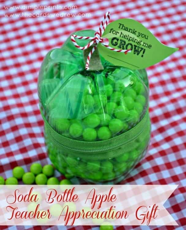 soda bottle apple teacher appreciation gift with free tag from DimplePrints and The Cards We Drew